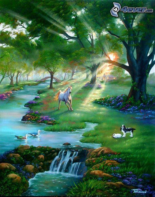 rozprávková krajina, kreslený kôň, kreslený pes, lúka, potok, stromy, slnečné lúče, príroda