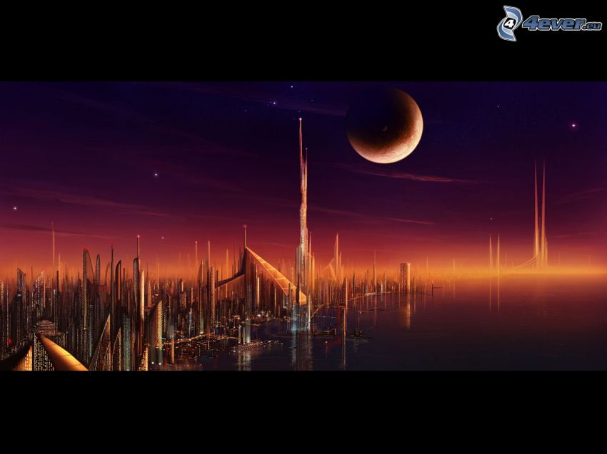 sci-fi mesto, mesiac