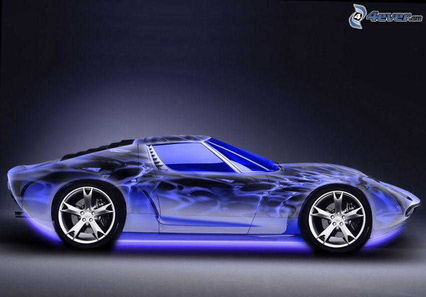 športové auto, neón