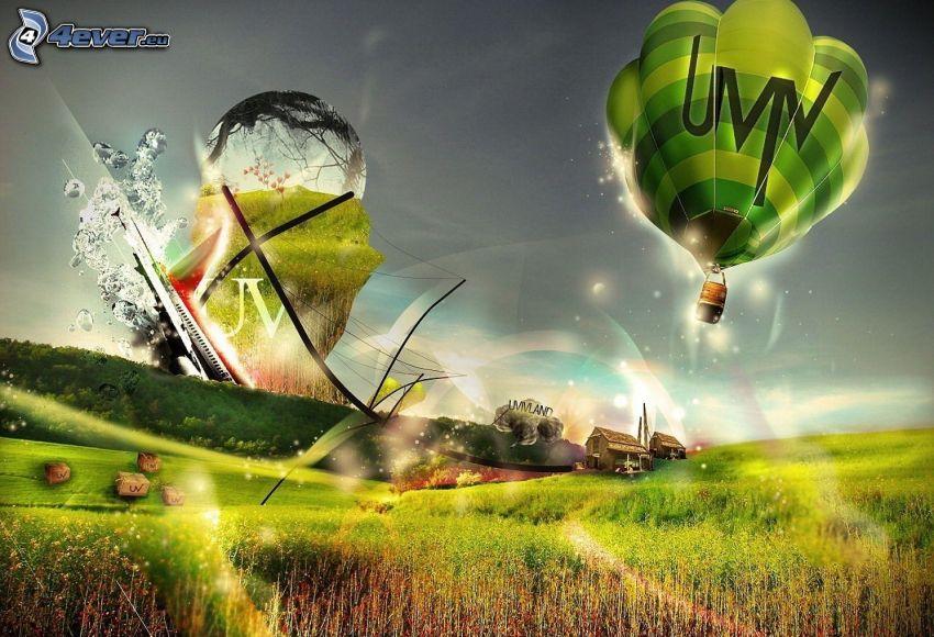 teplovzdušný balón, pole
