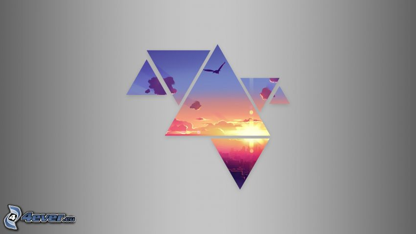trojuholníky, západ slnka v meste, obloha, vták
