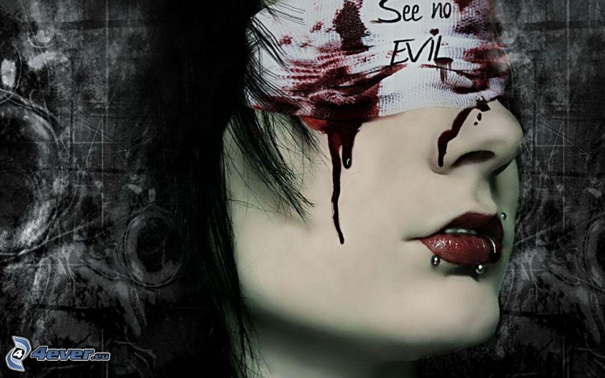 tvár, krvavé oči, piercing