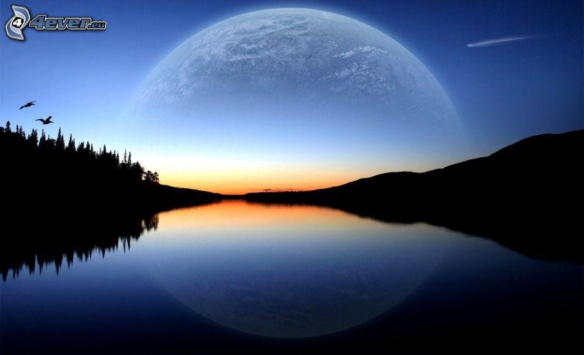 večerné pokojné jazero, planéta Zem