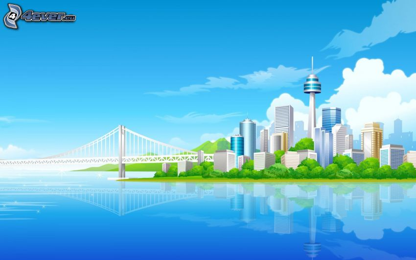 veľkomesto, most, more, mrakodrapy