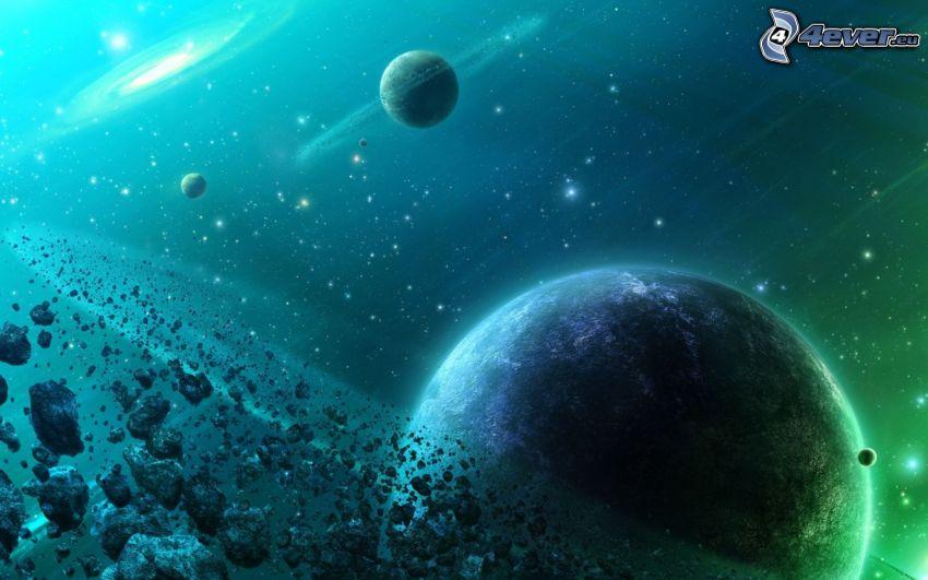 vesmír, pás asteroidov, planéty