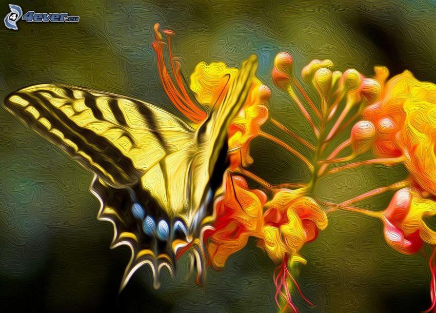 Vidlochvost, motýľ na kvete
