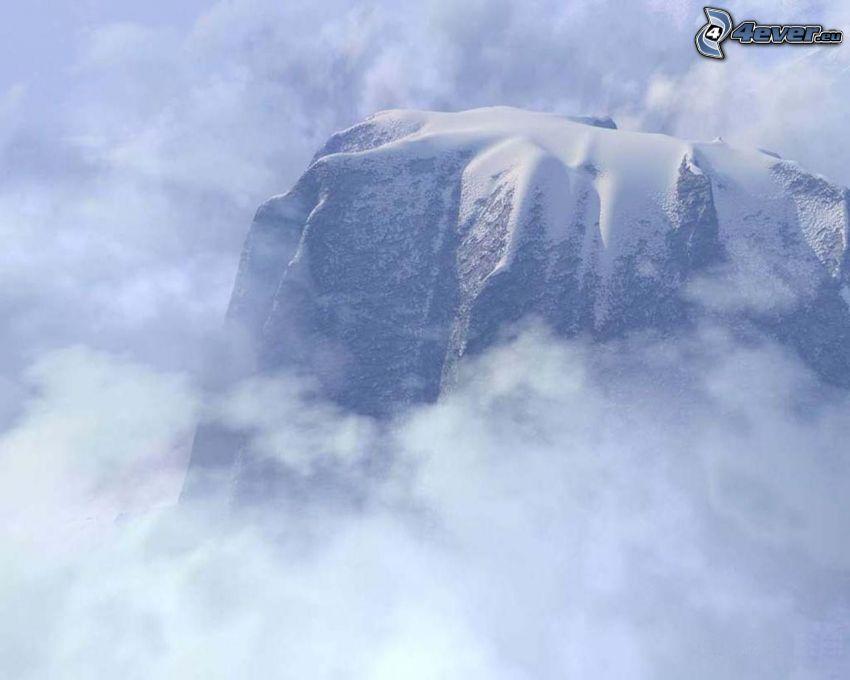 zasnežená hora v oblakoch, sneh, para