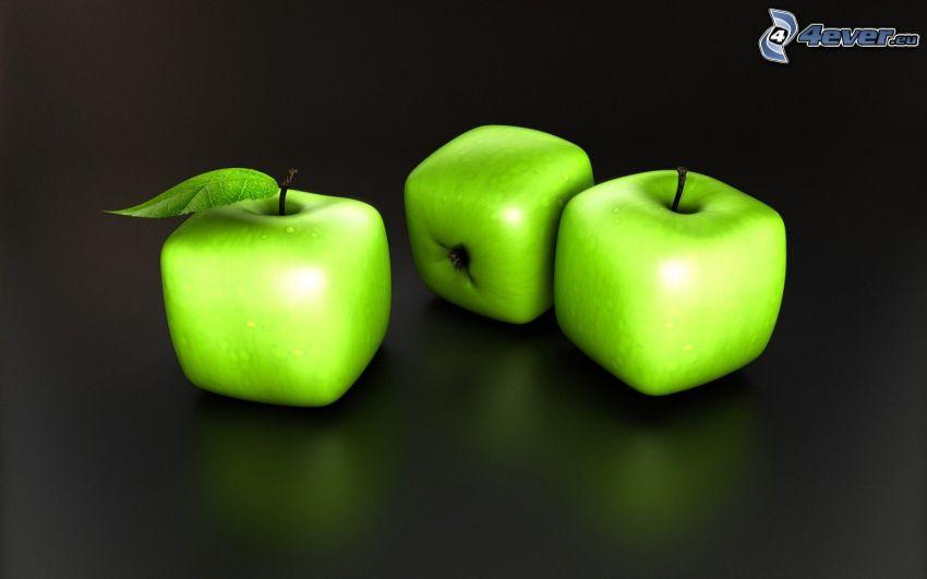 zelené jablká, kocky