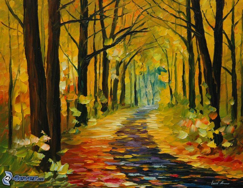 žltý jesenný les, farebné lístie, maľba