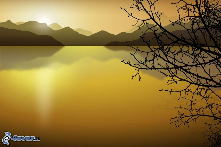 digitálna krajina, jazero, kreslený strom, pohorie