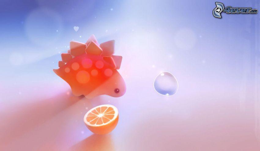 dinosaurus, pomaranč, bublina