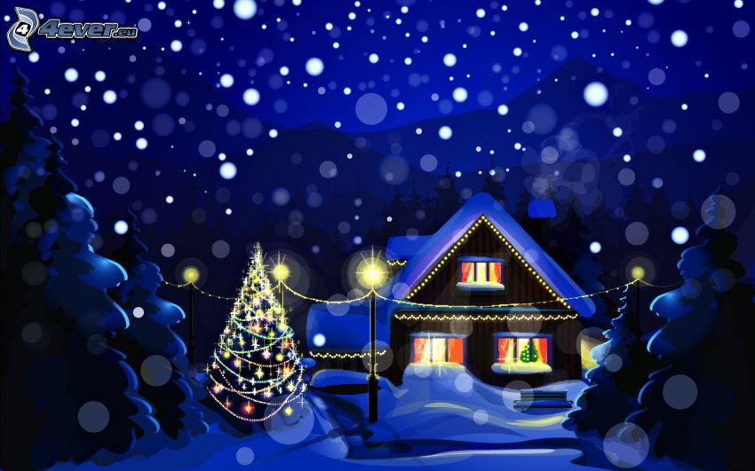 domček, vianočný stromček, sneženie