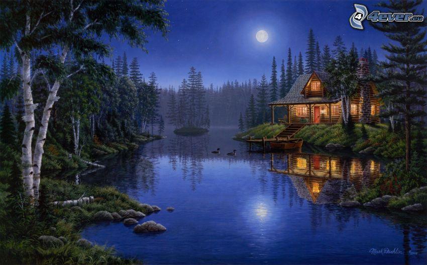 domček pri jazere, noc, mesiac