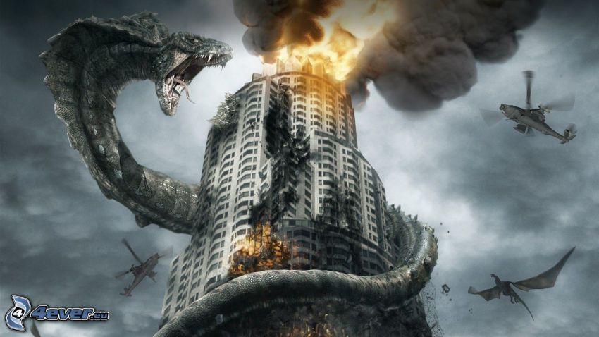 drak, rev, budova, výbuch, dym
