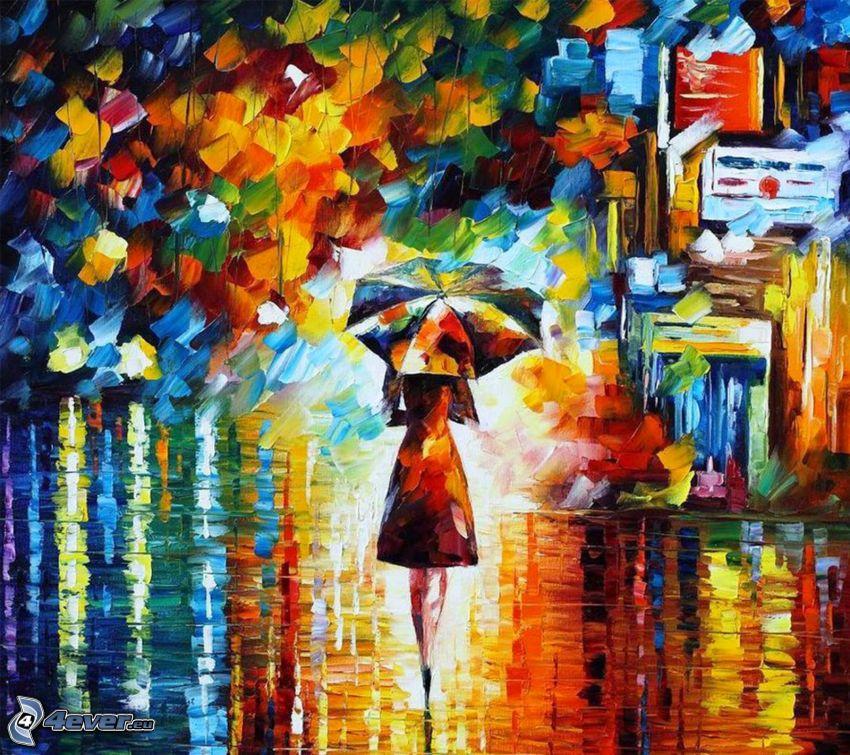 farebné obrazy, žena s dáždnikom