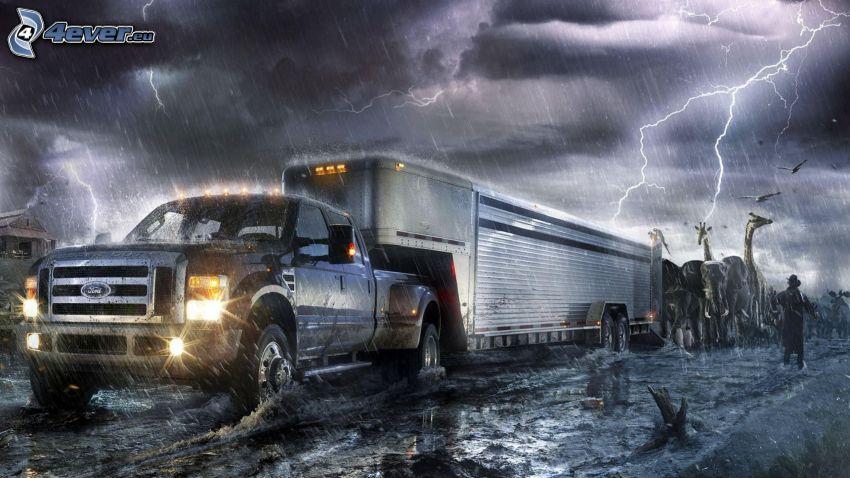 Ford, pickup truck, príves, žirafy, búrka, blesky