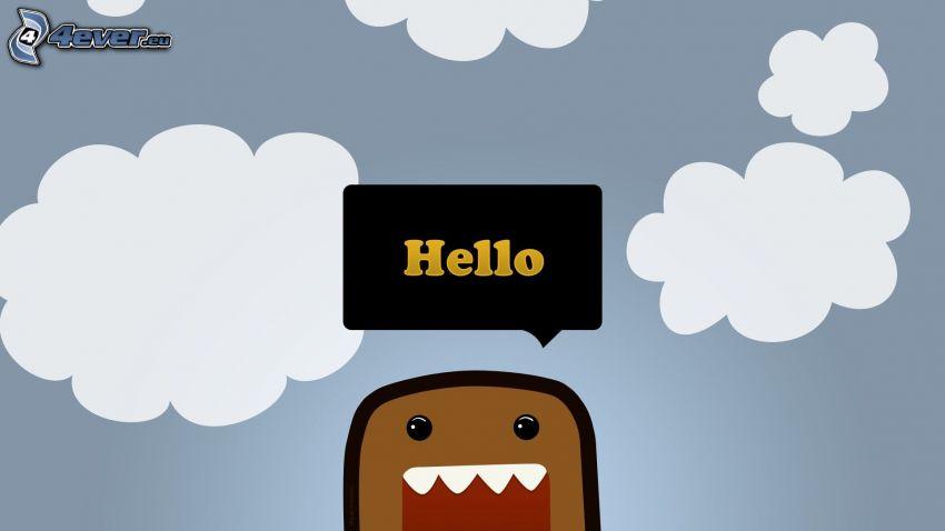 Hello, kreslená postavička, oblaky