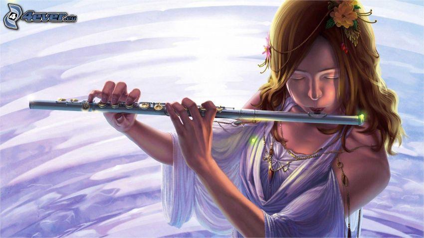 hra na flaute, kreslené dievča