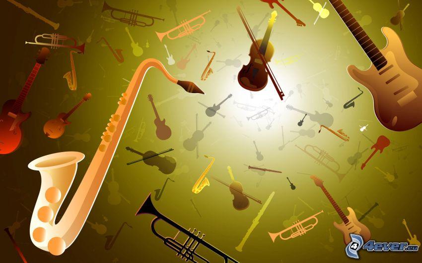 hudobné nástroje, gitara, husle, trúbka, trombón