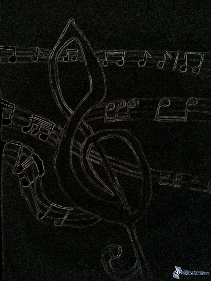 husľový kľúč, noty