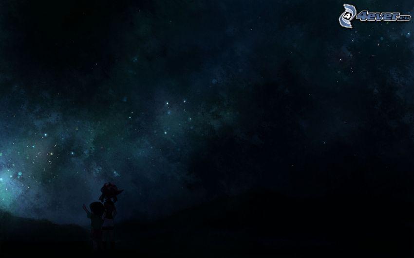 hviezdna obloha, chlapček a dievčatko
