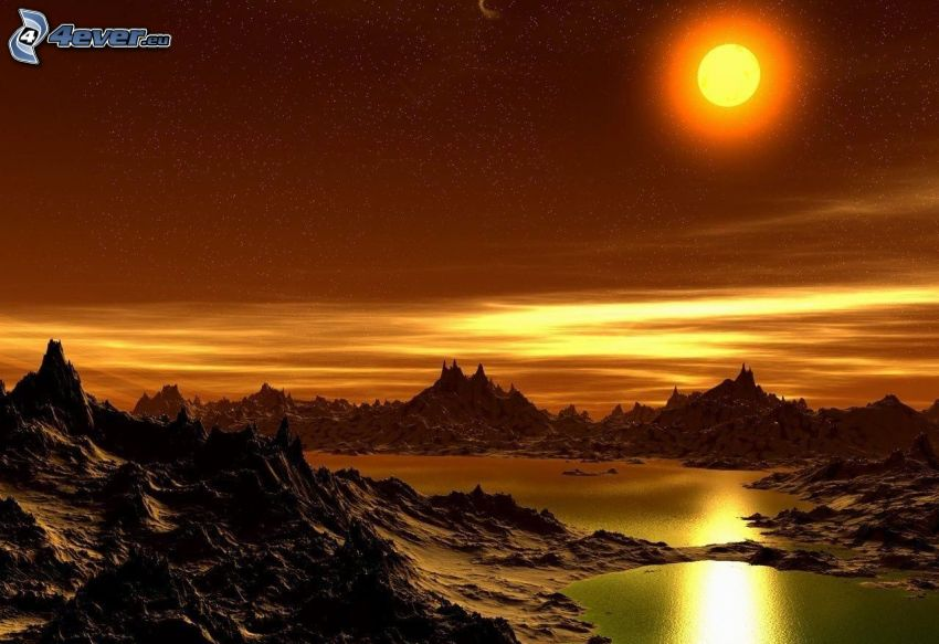 jazero, východ slnka