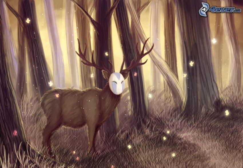 jeleň, les