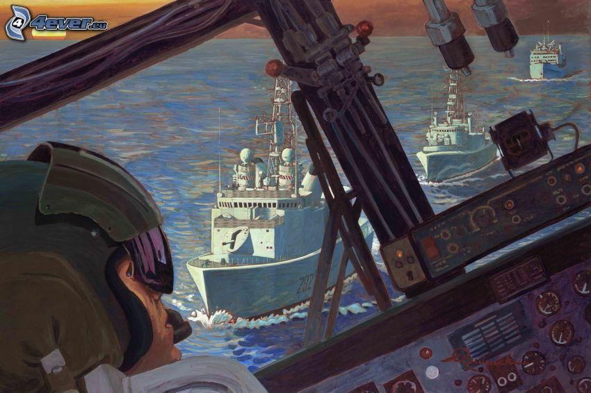 kokpit, pilot, lode
