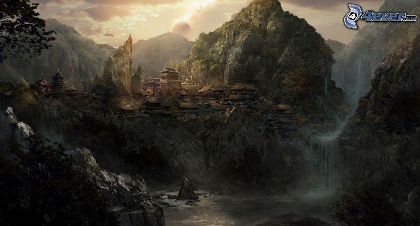 kreslená krajina, skalnaté hory