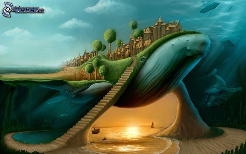 kreslená krajina, veľryba