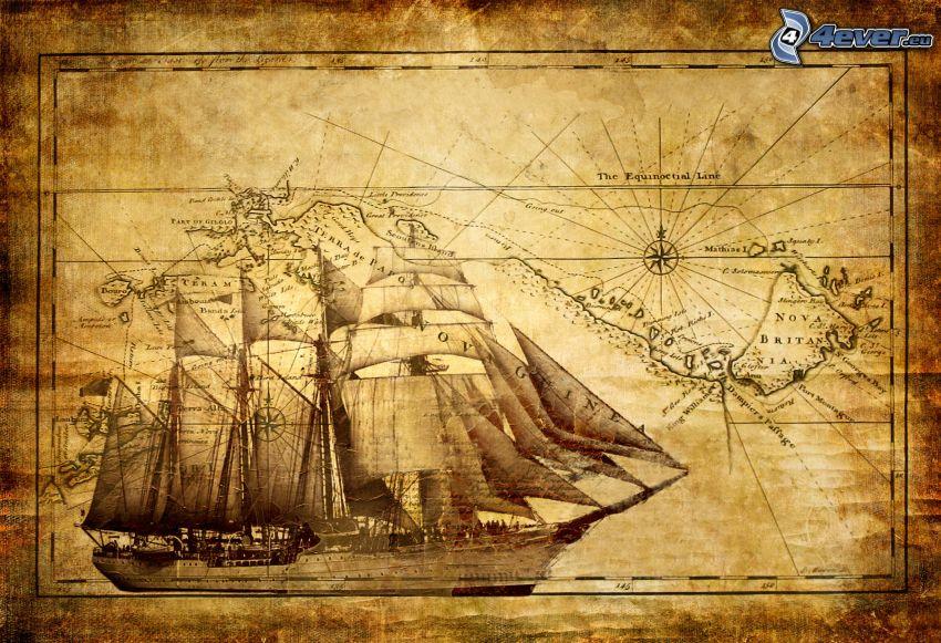 kreslená plachetnica, mapa