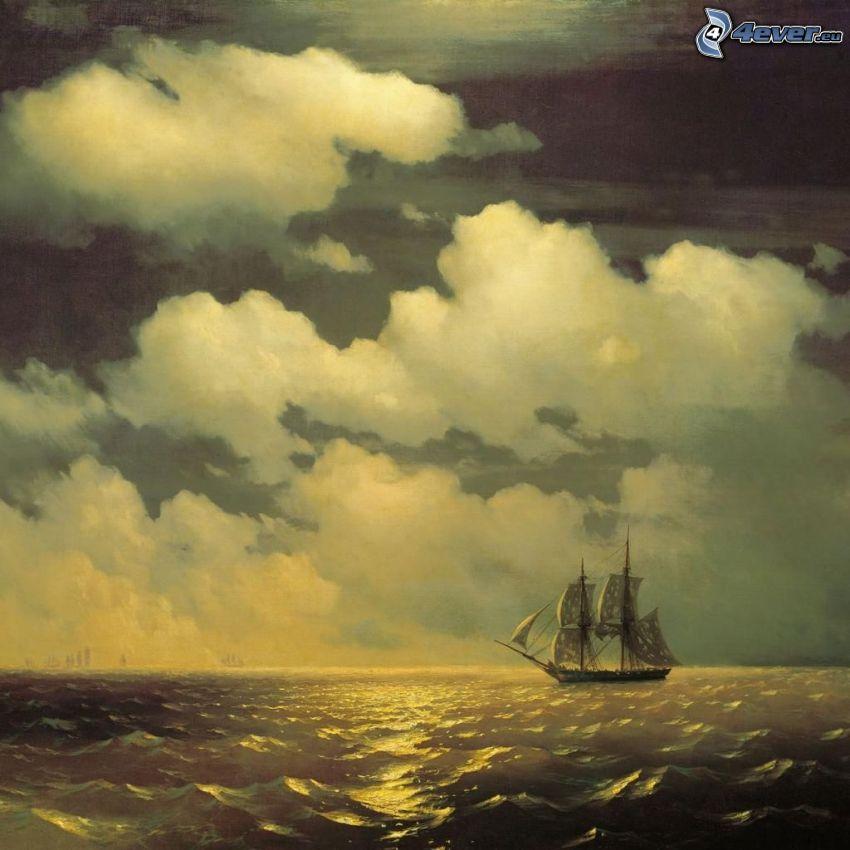 kreslená plachetnica, more, mraky