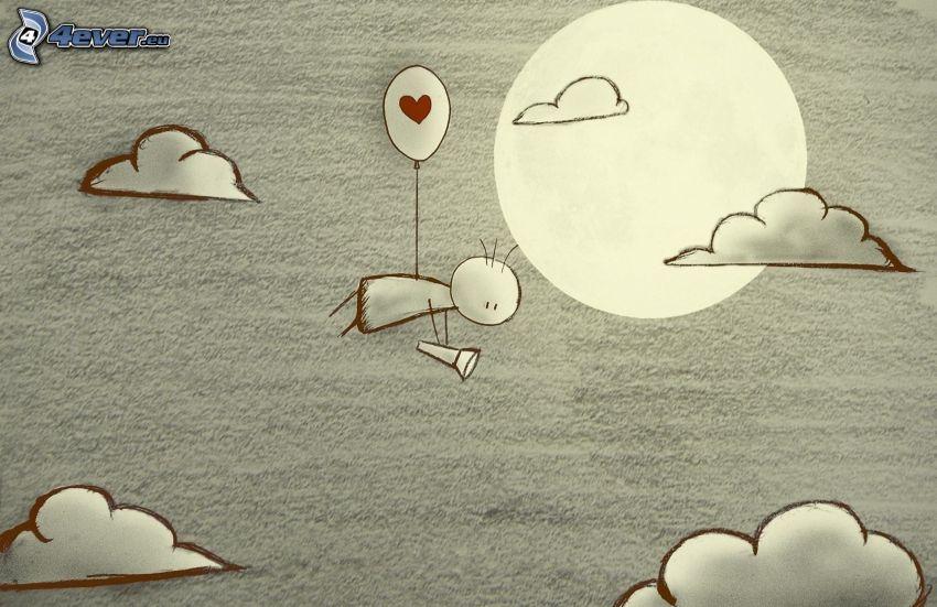 kreslená postavička, balón, srdiečko, baterka, oblaky, slnko