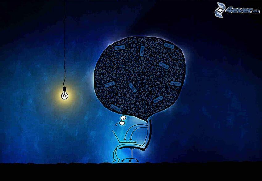 kreslená postavička, notebook, žiarovka