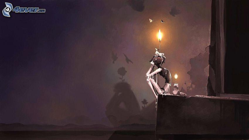 kreslená postavička, sviečka