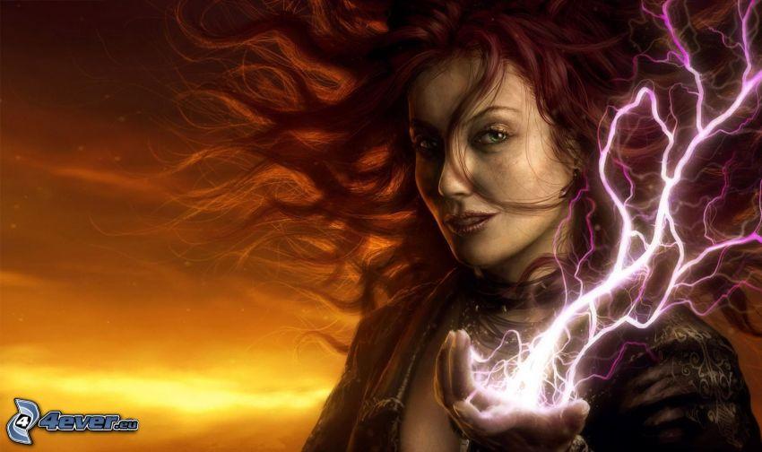 kreslená žena, blesk