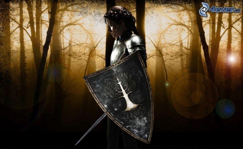 kreslená žena, brnenie, štít, meč, les