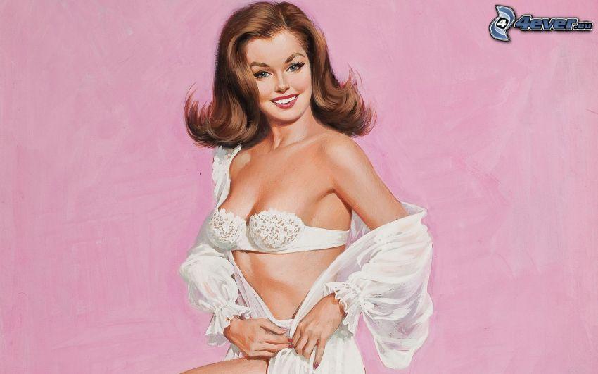kreslená žena, brunetka, biele spodné prádlo
