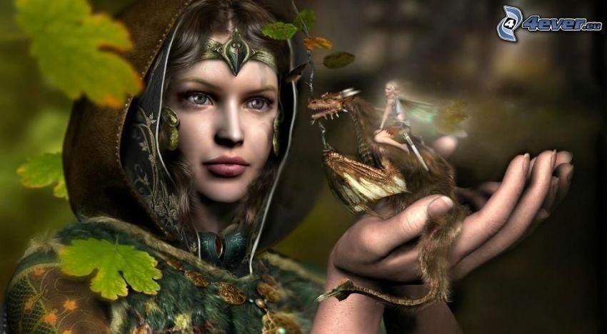 kreslená žena, drak, víla
