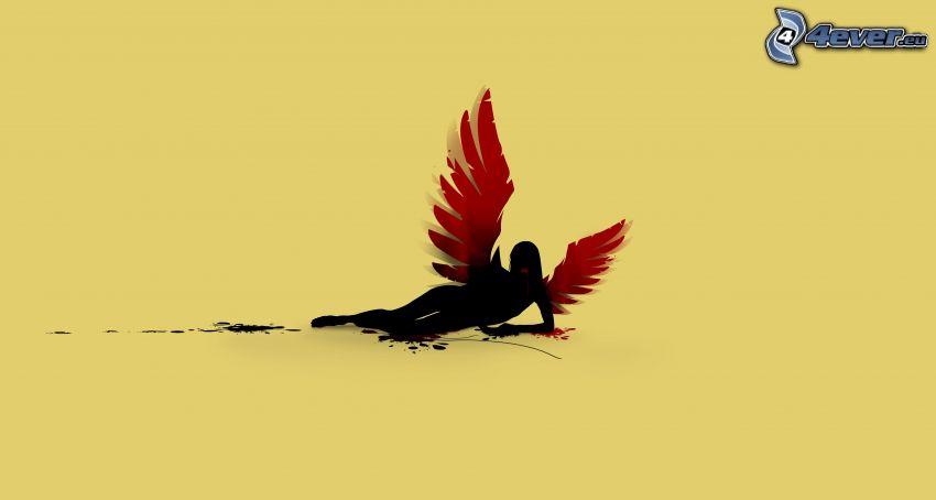 kreslená žena, krídla