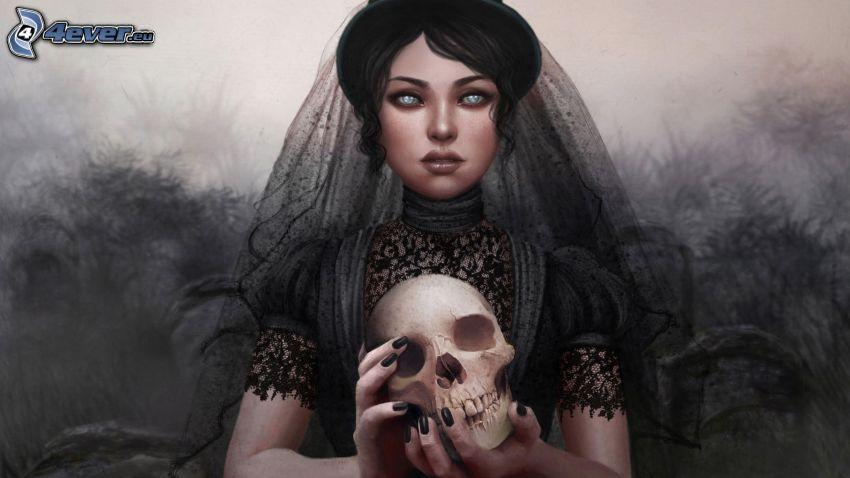 kreslená žena, lebka