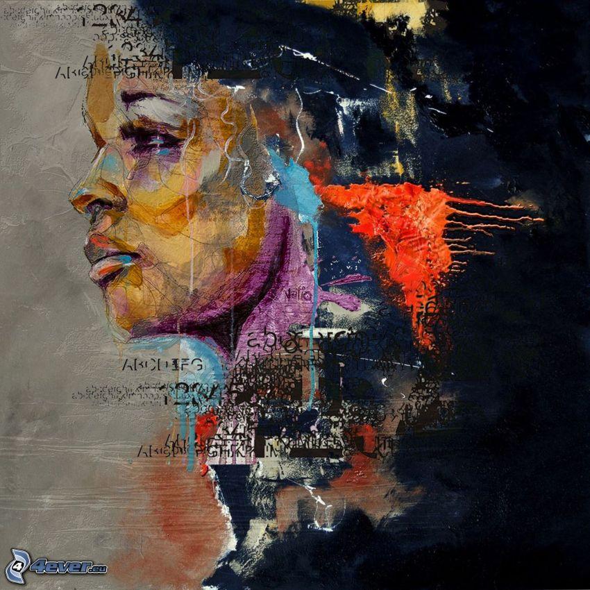 kreslená žena, machule