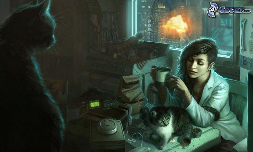 kreslená žena, mačky