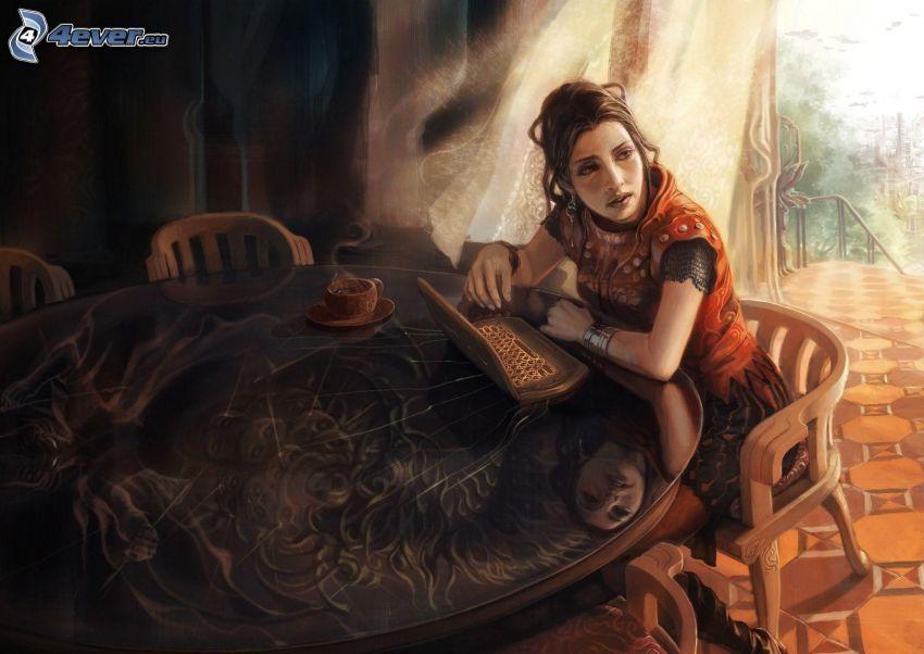 kreslená žena, notebook, stôl