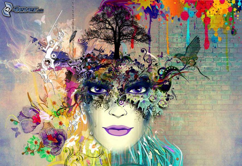 kreslená žena, silueta stromu, vtáčik, kvety, farebné machule