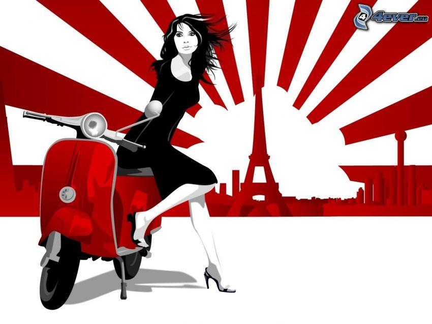 kreslená žena, skúter, Eiffelova veža
