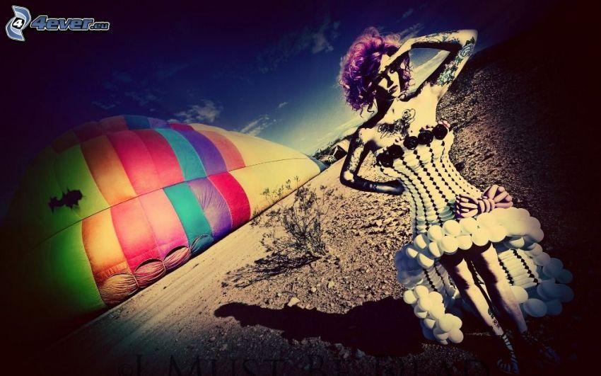 kreslená žena, teplovzdušný balón