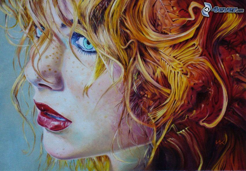 kreslená žena, tvár