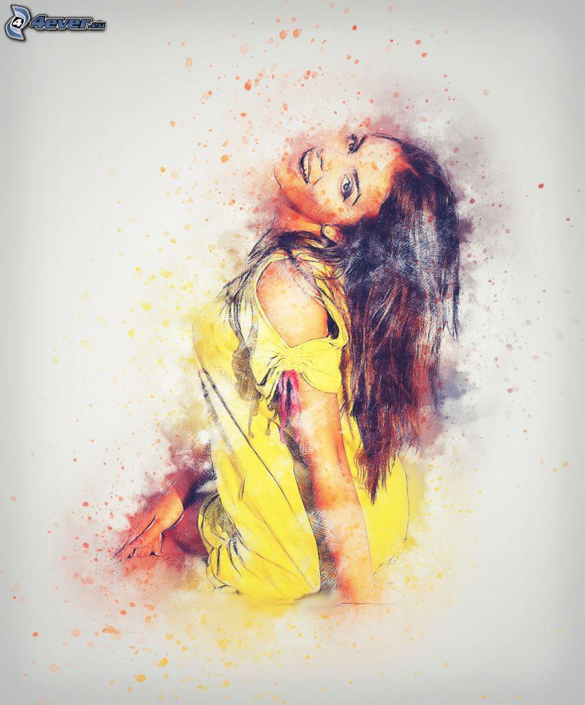 kreslená žena, úsmev