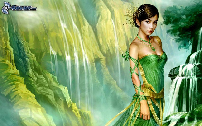 kreslená žena, vodopády